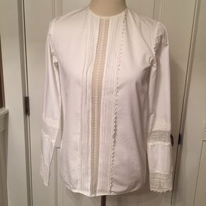 ⭐️CHLOE TOP BLOUSE LUXURY WHITE WITH LACE PANEL XS